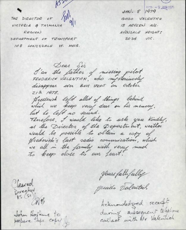 lettera padre Valentich